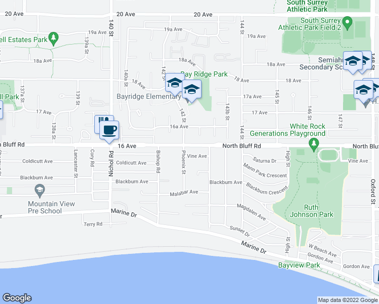 map of restaurants, bars, coffee shops, grocery stores, and more near 14237 Vine Avenue in White Rock