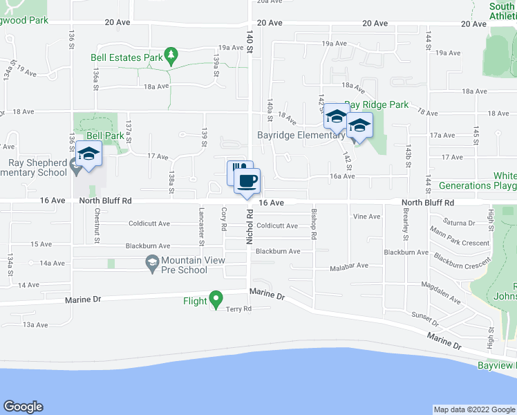 map of restaurants, bars, coffee shops, grocery stores, and more near 14022 North Bluff Road in White Rock
