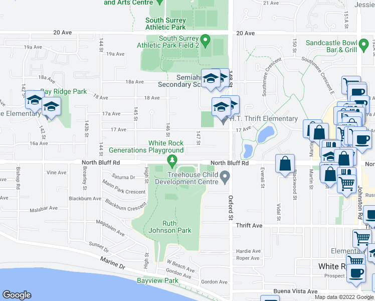 map of restaurants, bars, coffee shops, grocery stores, and more near 14666 16A Avenue in Surrey