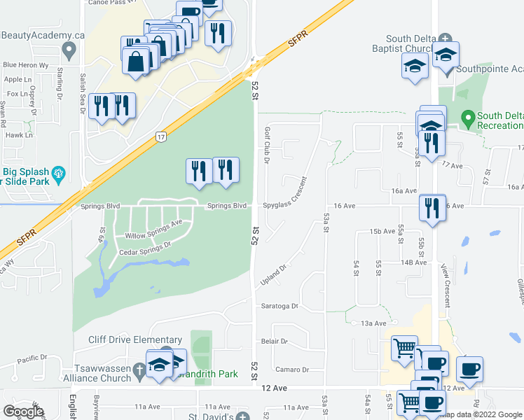 map of restaurants, bars, coffee shops, grocery stores, and more near 1597 Golf Club Drive in Delta