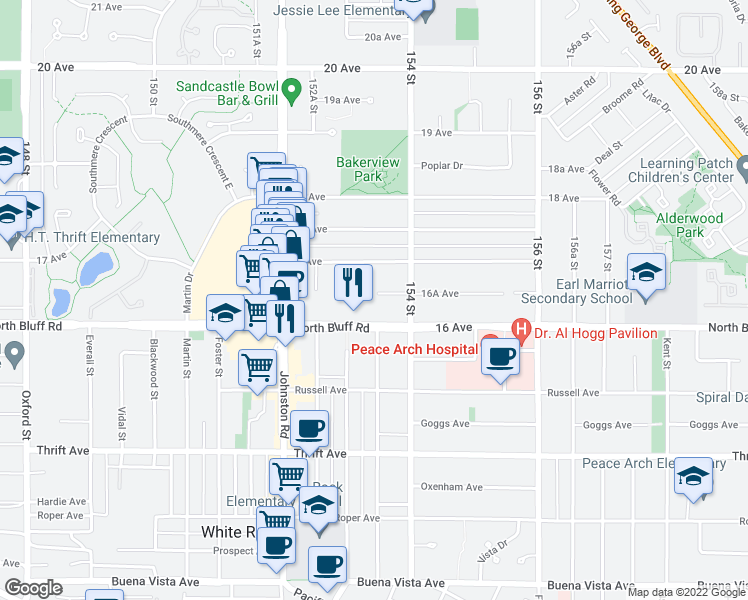 map of restaurants, bars, coffee shops, grocery stores, and more near 15350 16A Avenue in Surrey