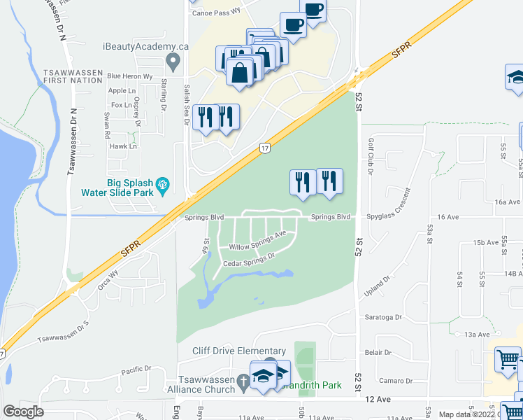 map of restaurants, bars, coffee shops, grocery stores, and more near 5011 Springs Boulevard in Delta