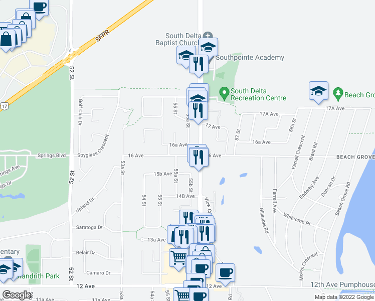 map of restaurants, bars, coffee shops, grocery stores, and more near 5553 16 Avenue in Delta