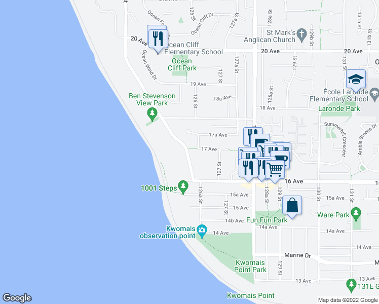 map of restaurants, bars, coffee shops, grocery stores, and more near 1688 Ocean Park Road in Surrey