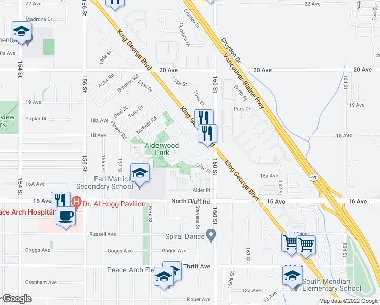 map of restaurants, bars, coffee shops, grocery stores, and more near 1774 Lilac Drive in Surrey