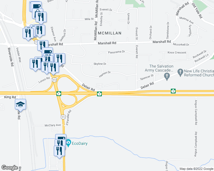 map of restaurants, bars, coffee shops, grocery stores, and more near 34868 Ackerman Court in Abbotsford