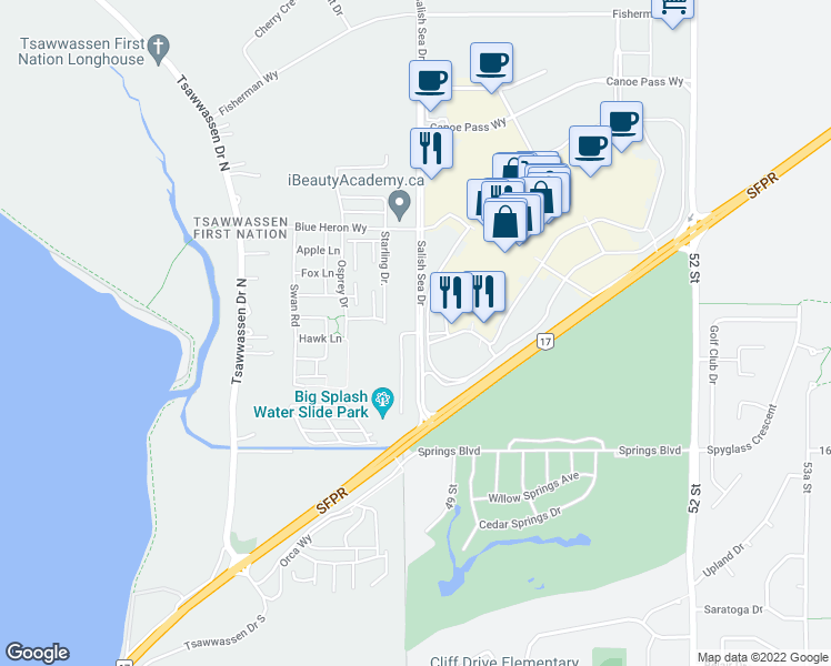 map of restaurants, bars, coffee shops, grocery stores, and more near Hawk Lane in Delta