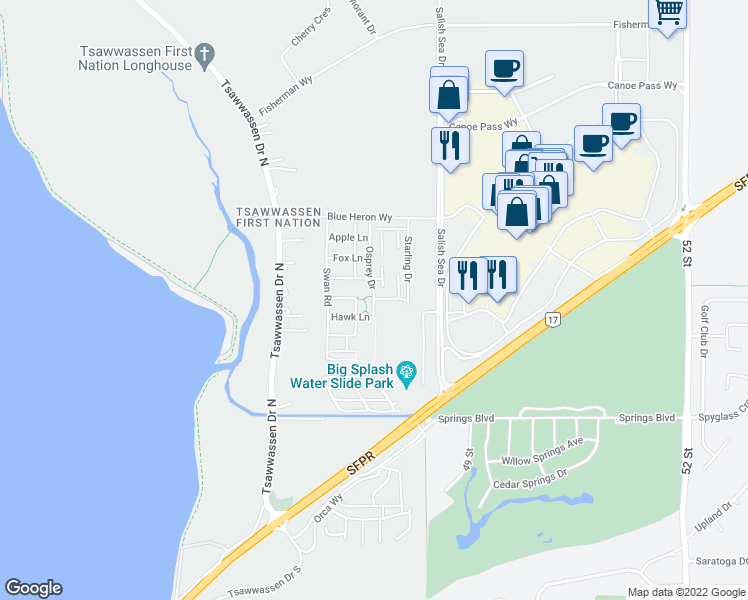 map of restaurants, bars, coffee shops, grocery stores, and more near 1784 Osprey Road in Greater Vancouver