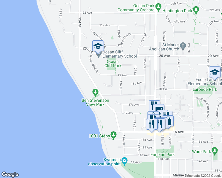 map of restaurants, bars, coffee shops, grocery stores, and more near 1848 Ocean Surf Place in Surrey