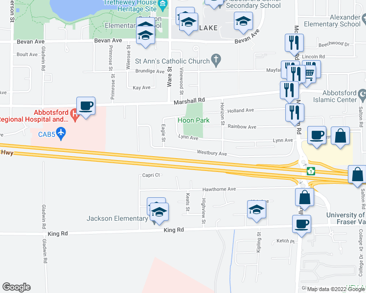 map of restaurants, bars, coffee shops, grocery stores, and more near 33237 Westbury Avenue in Abbotsford