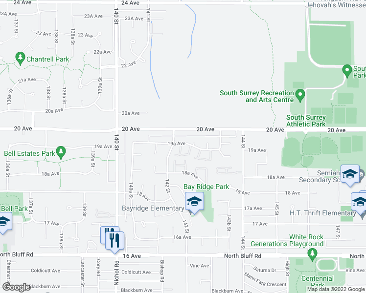 map of restaurants, bars, coffee shops, grocery stores, and more near 14220 19A Avenue in Surrey