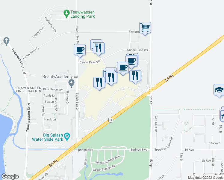 map of restaurants, bars, coffee shops, grocery stores, and more near 5000 Canoe Pass Way in Delta