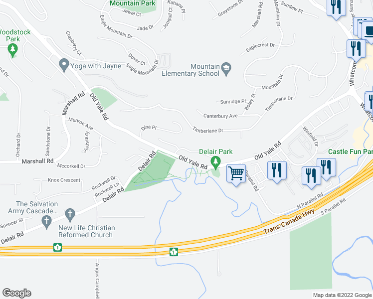 map of restaurants, bars, coffee shops, grocery stores, and more near Zanatta Place in Abbotsford
