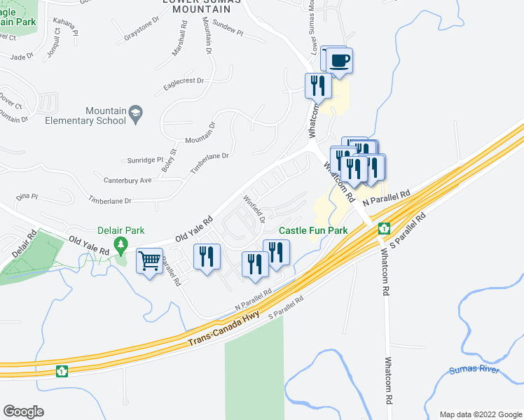map of restaurants, bars, coffee shops, grocery stores, and more near 2068 Winfield Drive in Abbotsford