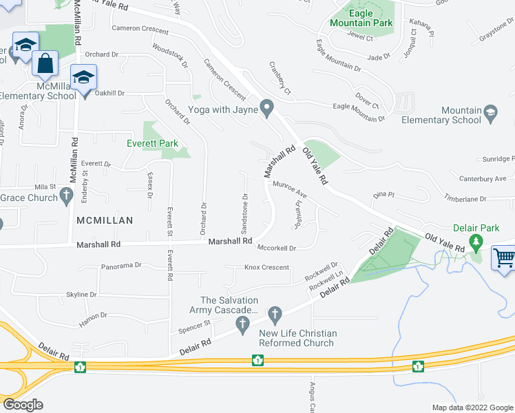 map of restaurants, bars, coffee shops, grocery stores, and more near 2104 Kodiak Court in Abbotsford