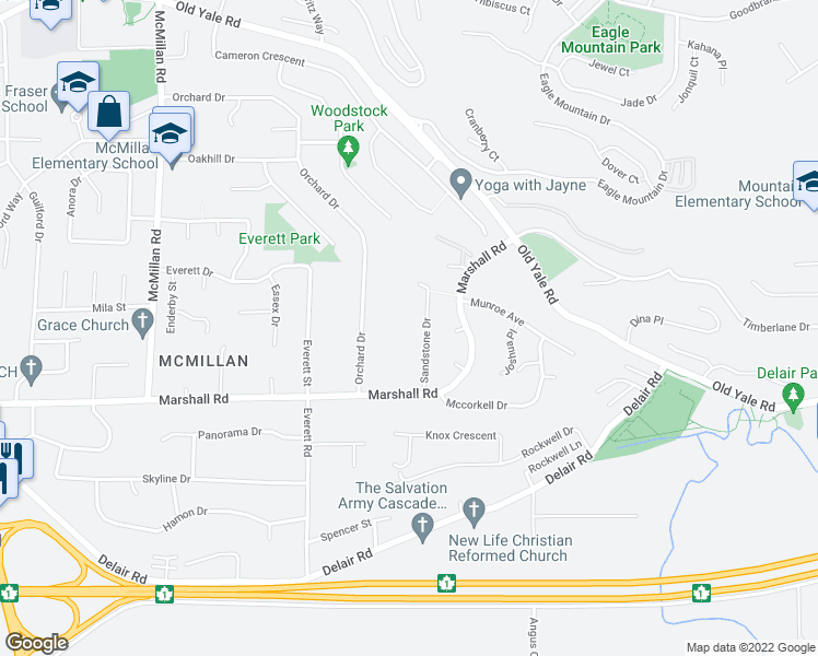 map of restaurants, bars, coffee shops, grocery stores, and more near 2115 Sandstone Drive in Abbotsford