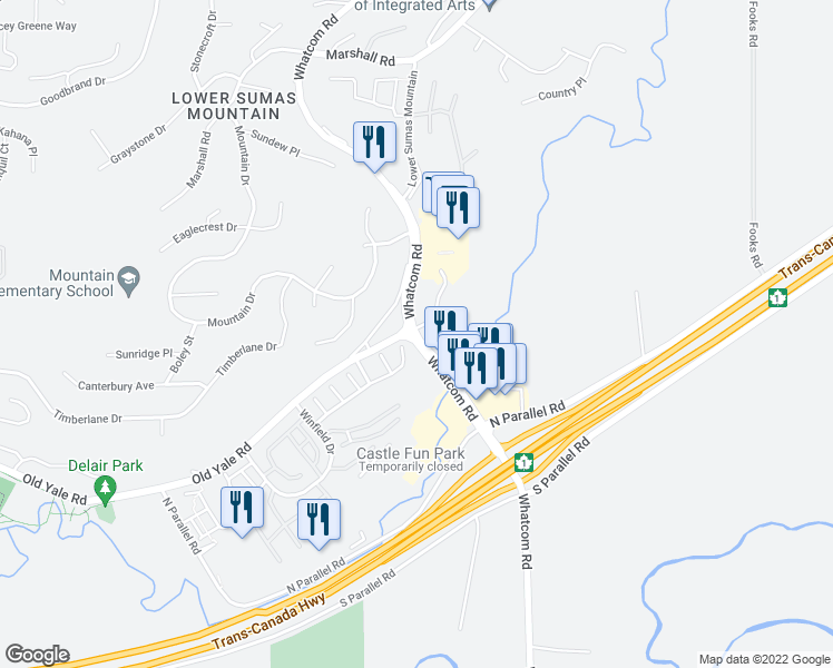 map of restaurants, bars, coffee shops, grocery stores, and more near 2242 Whatcom Road in Abbotsford