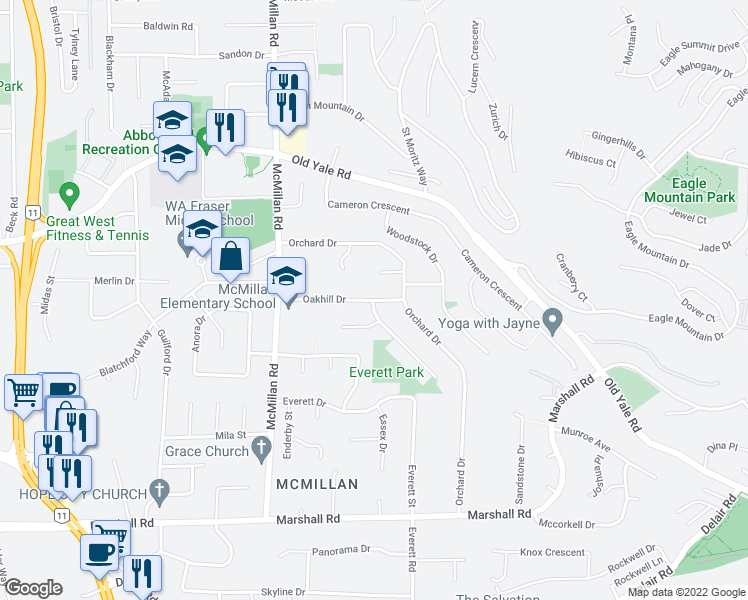 map of restaurants, bars, coffee shops, grocery stores, and more near 34957 Oakhill Drive in Abbotsford