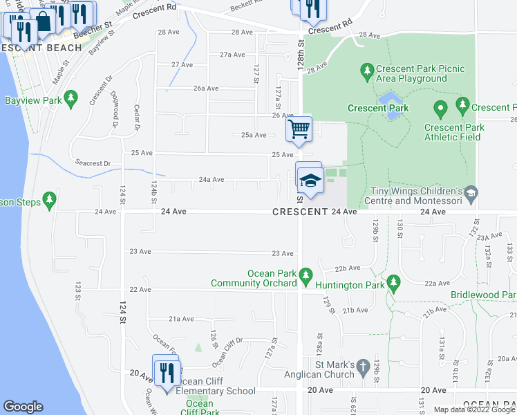map of restaurants, bars, coffee shops, grocery stores, and more near 12713 24 Avenue in Surrey