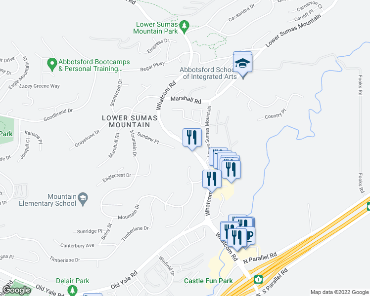 map of restaurants, bars, coffee shops, grocery stores, and more near 2459 Whatcom Road in Abbotsford