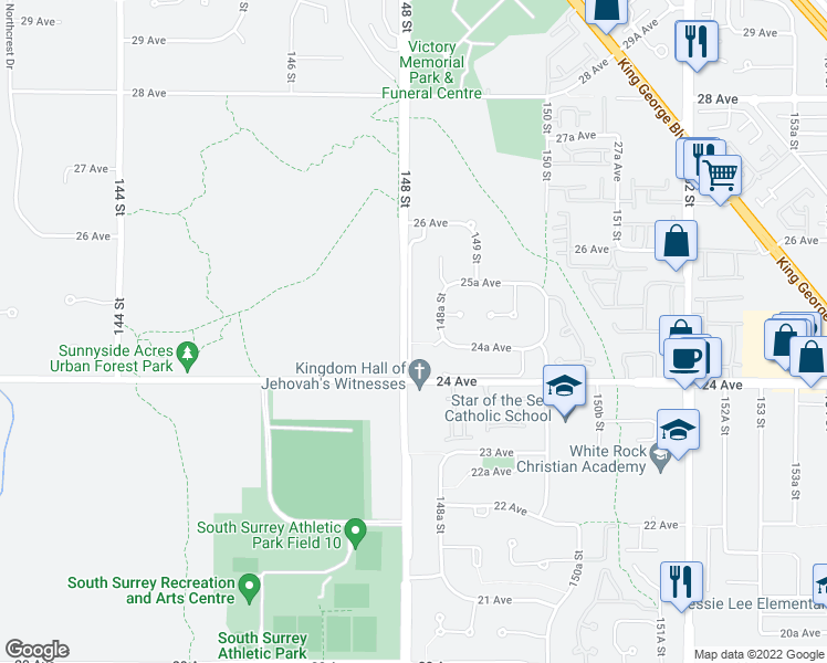 map of restaurants, bars, coffee shops, grocery stores, and more near 2466 148 Street in Surrey