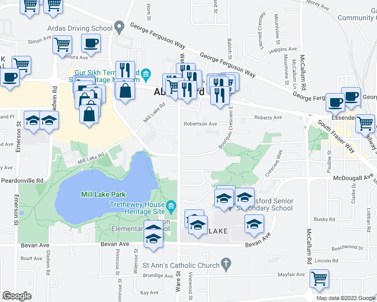 map of restaurants, bars, coffee shops, grocery stores, and more near 33233 Bourquin Crescent East in Abbotsford
