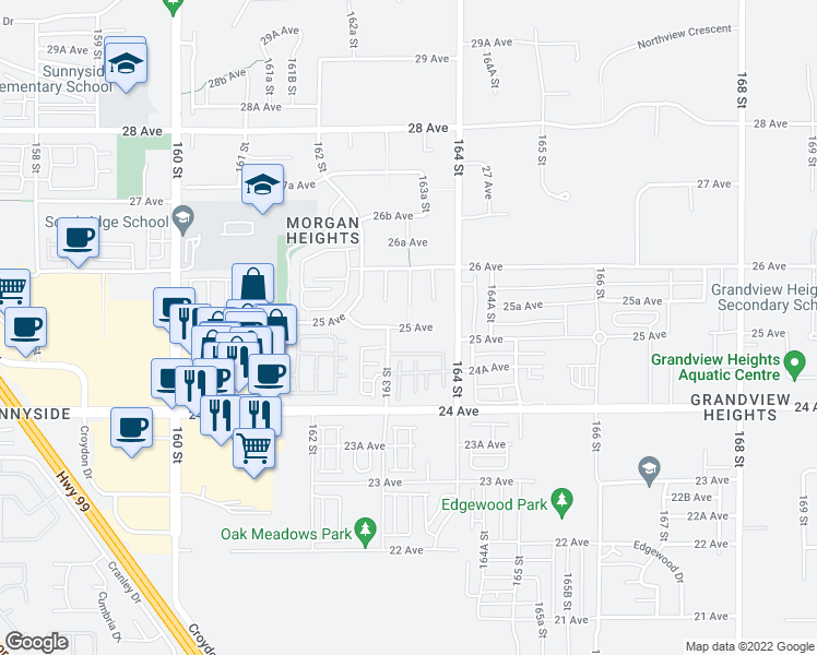 map of restaurants, bars, coffee shops, grocery stores, and more near 16685 25 Avenue in Surrey
