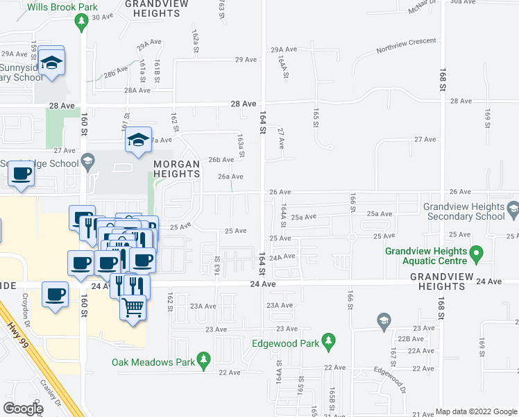 map of restaurants, bars, coffee shops, grocery stores, and more near 2571 164 Street in Surrey