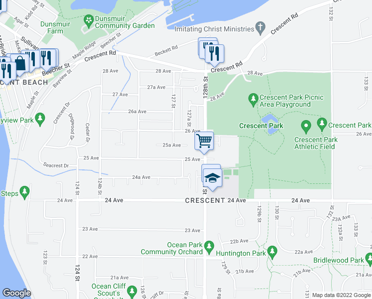 map of restaurants, bars, coffee shops, grocery stores, and more near 12740 25A Avenue in Surrey
