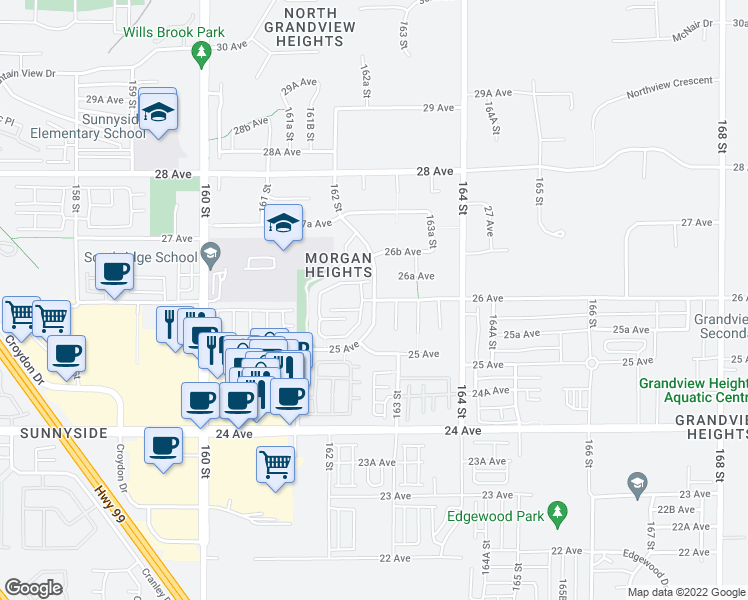 map of restaurants, bars, coffee shops, grocery stores, and more near 2603 162 Street in Surrey