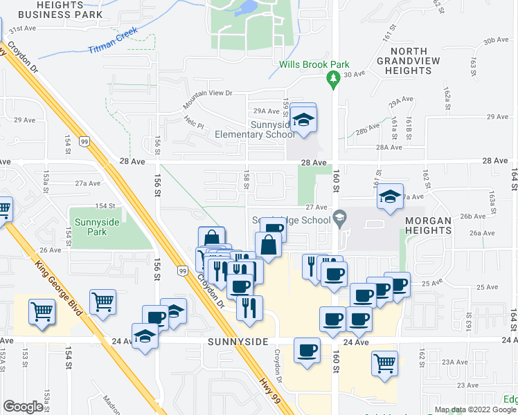 map of restaurants, bars, coffee shops, grocery stores, and more near 15828 27 Avenue in Surrey