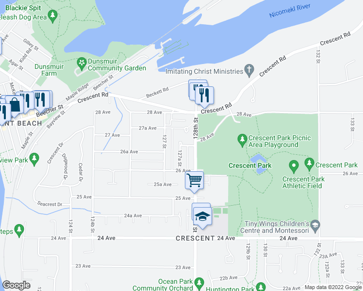 map of restaurants, bars, coffee shops, grocery stores, and more near 12768 26B Avenue in Surrey