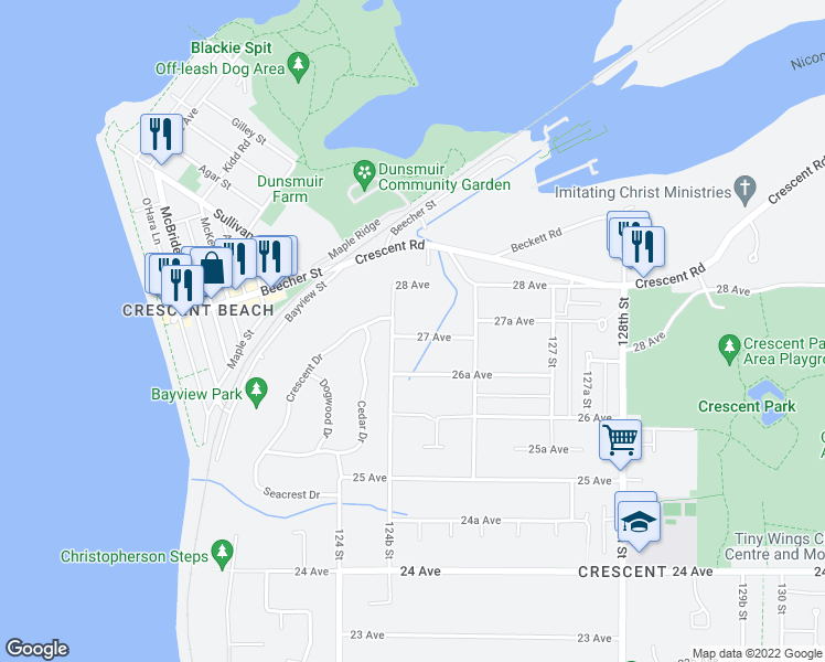map of restaurants, bars, coffee shops, grocery stores, and more near 12509 27 Avenue in Surrey