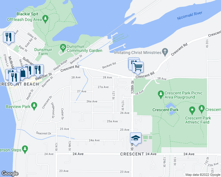 map of restaurants, bars, coffee shops, grocery stores, and more near 12690 27A Avenue in Surrey