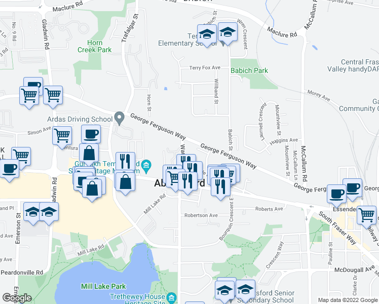 map of restaurants, bars, coffee shops, grocery stores, and more near 2780 Ware Street in Abbotsford