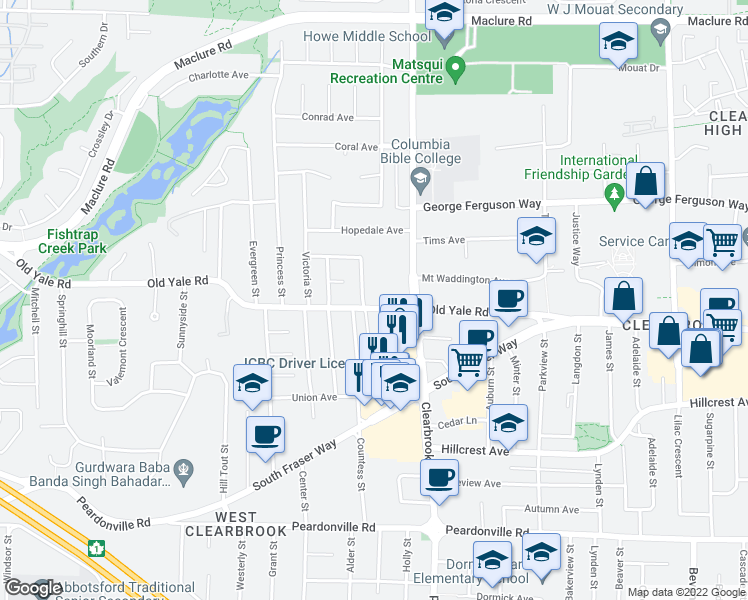 map of restaurants, bars, coffee shops, grocery stores, and more near 31955 Old Yale Road in Abbotsford