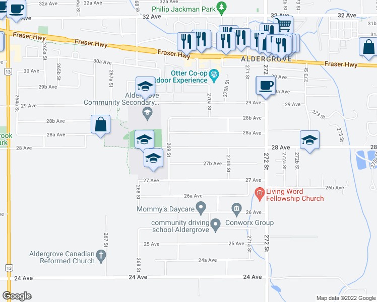 map of restaurants, bars, coffee shops, grocery stores, and more near 26964 28 Avenue in Langley Township
