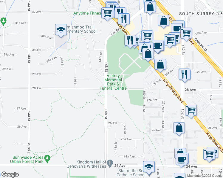 map of restaurants, bars, coffee shops, grocery stores, and more near 28 Avenue in Surrey