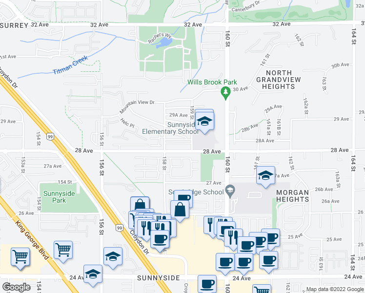 map of restaurants, bars, coffee shops, grocery stores, and more near 15867 28 Avenue in Surrey