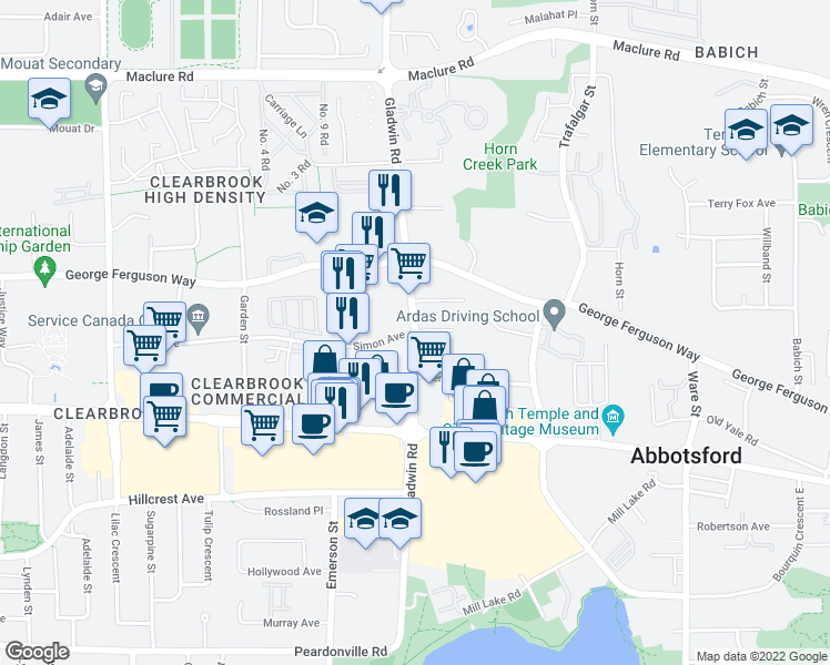map of restaurants, bars, coffee shops, grocery stores, and more near 32838 Landeau Place in Abbotsford