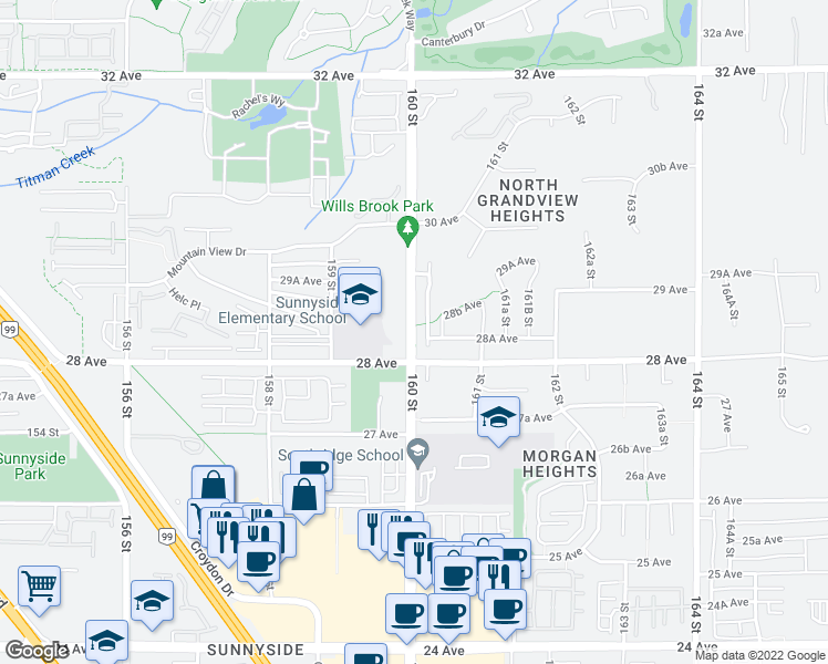 map of restaurants, bars, coffee shops, grocery stores, and more near 15975 28 Avenue in Surrey