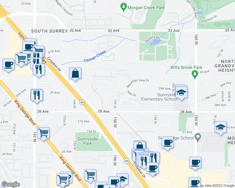 map of restaurants, bars, coffee shops, grocery stores, and more near 2888 156 Street in Surrey