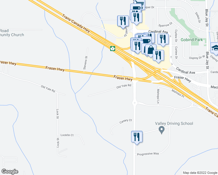 map of restaurants, bars, coffee shops, grocery stores, and more near 30261 Old Yale Road in Abbotsford