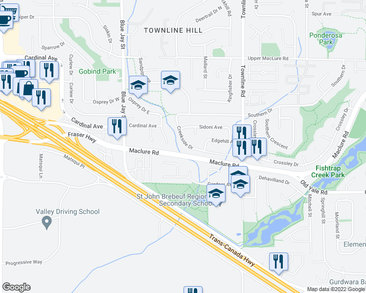 map of restaurants, bars, coffee shops, grocery stores, and more near 31002 Creekside Drive in Abbotsford