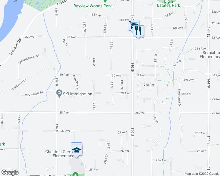 map of restaurants, bars, coffee shops, grocery stores, and more near 2927 139 Street in Surrey