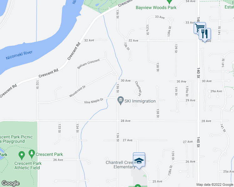 map of restaurants, bars, coffee shops, grocery stores, and more near 2931 136 Street in Surrey