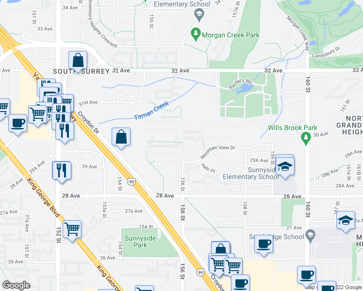 map of restaurants, bars, coffee shops, grocery stores, and more near 2979 156 Street in Surrey