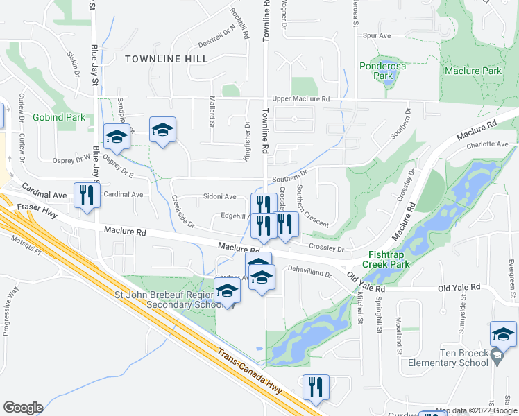 map of restaurants, bars, coffee shops, grocery stores, and more near 2963 Townline Road in Abbotsford