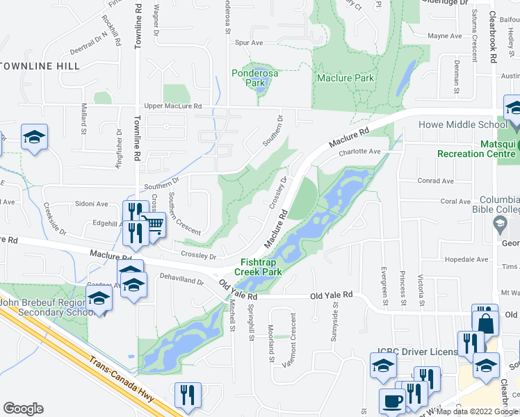 map of restaurants, bars, coffee shops, grocery stores, and more near 31476 Crossley Court in Abbotsford