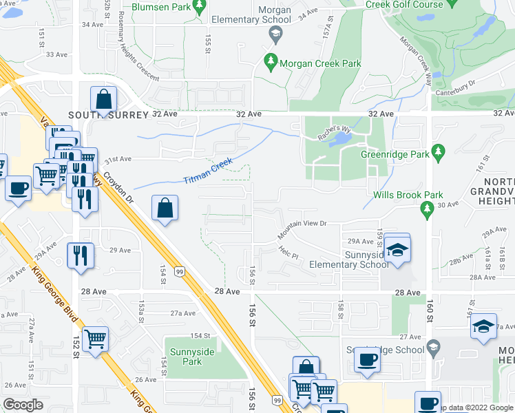 map of restaurants, bars, coffee shops, grocery stores, and more near 15665 Mountain View Drive in Surrey